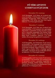 Adventi gyertyagyújtások a Fő téren